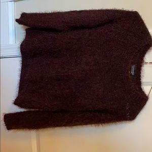 Topshop maroon fuzzy sweater size 0